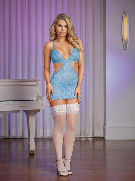 Cutout Dress & G-String Set Large Light Blue