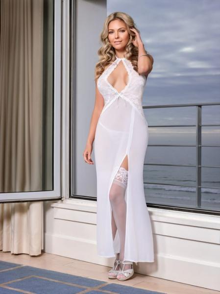 Keyhole Gown & G-String Panty White Medium