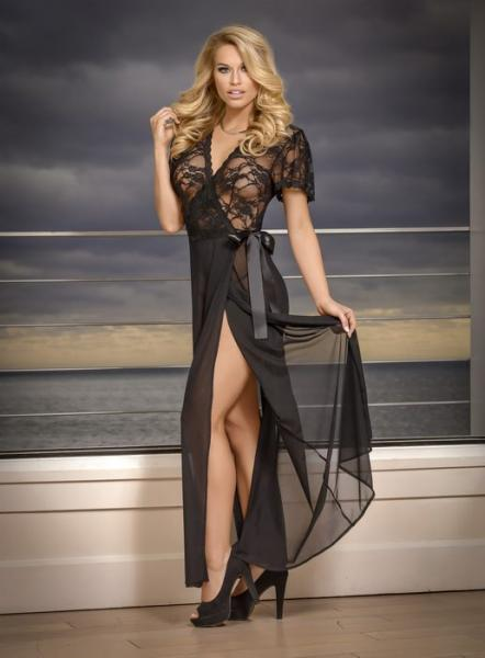 Magic Silk Robe & G-String Panty Set Black 2X
