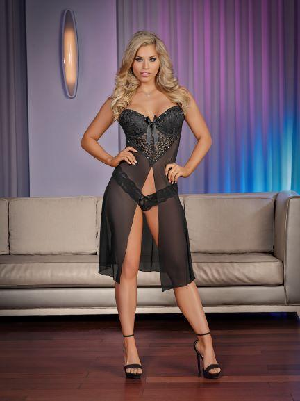 Short Gown & Panty 2XL Black