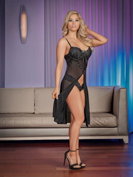 Short Gown & Panty Medium Black