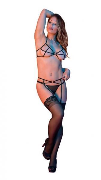 Sexy Time Strappy Bra, Garter & G-String Set Rings Black S/M