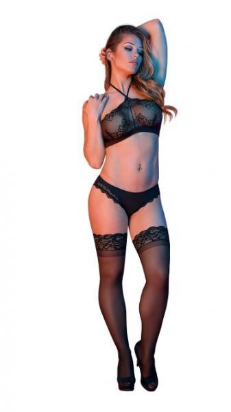 Sexy Time Halter Bandeaux Top & Panty Set Black L/XL