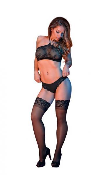 Sexy Time Halter Bandeaux Top  & Panty Set Black S/M