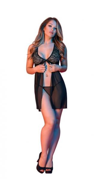 Sexy Time Fly Away Babydoll & G-String Set Black S/M