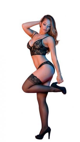Sexy Time Bralette & Panty Set Black S/M