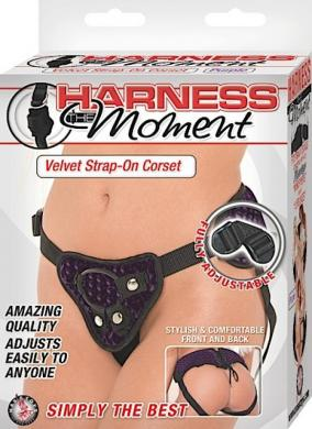 Harness The Moment Velvet Strap On Corset - Purple