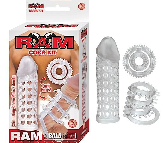 Cock Kit Sleeve Extender And Cockrings - Clear