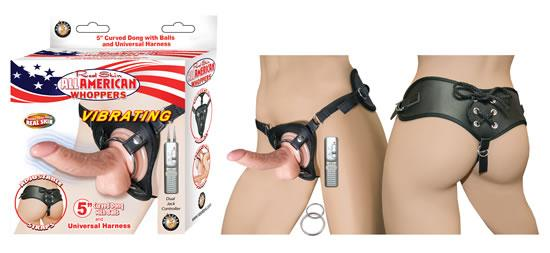 All American Whoppers 5 inches Vibrating Curved Dong, Balls Beige & Universal Harness