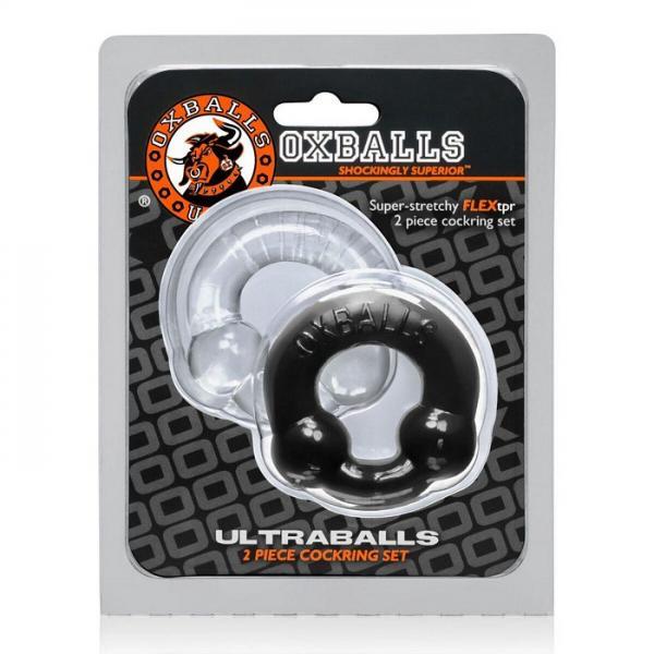 Oxballs Ultraballs Cock Rings Black, Clear 2 Pack