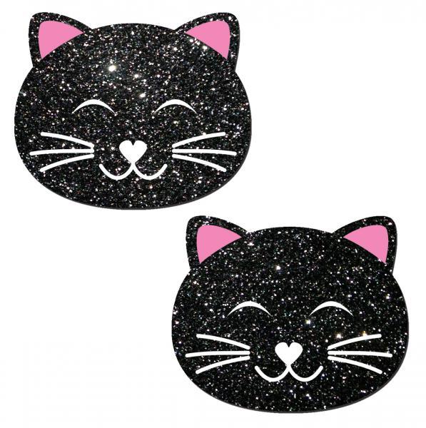 Kitty Cat Black Glitter Pasties