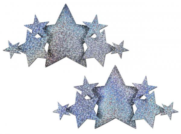 Pastease Demi Silver Glitter Star Breast Covers Pasties