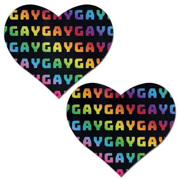 Pastease Rainbow Gay Pattern Black Hearts Pasties