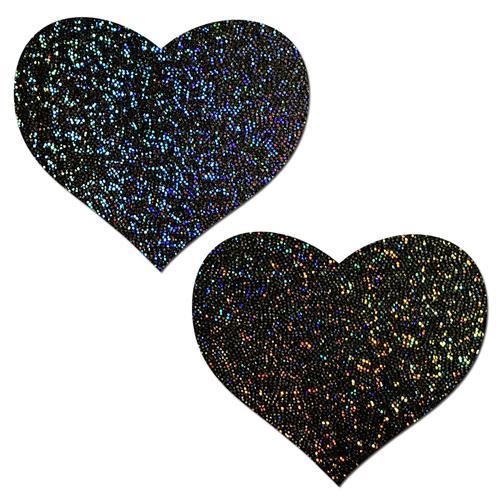 Pastease Glitter Heart Black Pasties