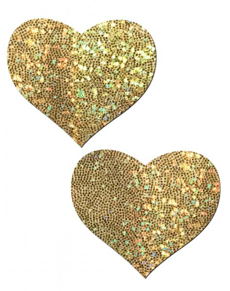 Pastease Gold Glitter Heart Pasties O/S