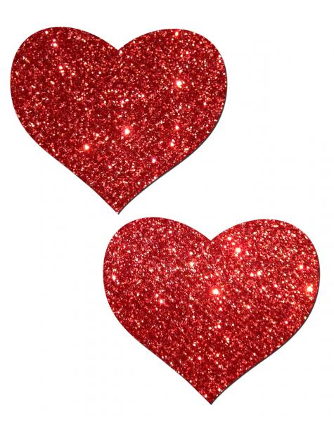 Heart Red Glitter Pasties O/S