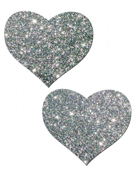 Heart Silver Glitter Pasties O/S
