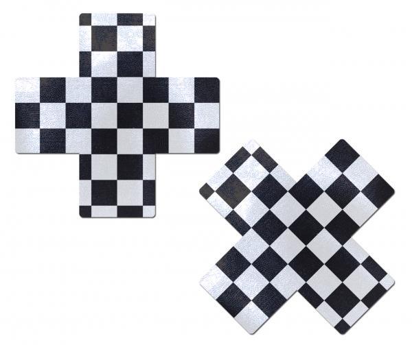 Pastease X Black & White Checker Cross Nipple Pasties