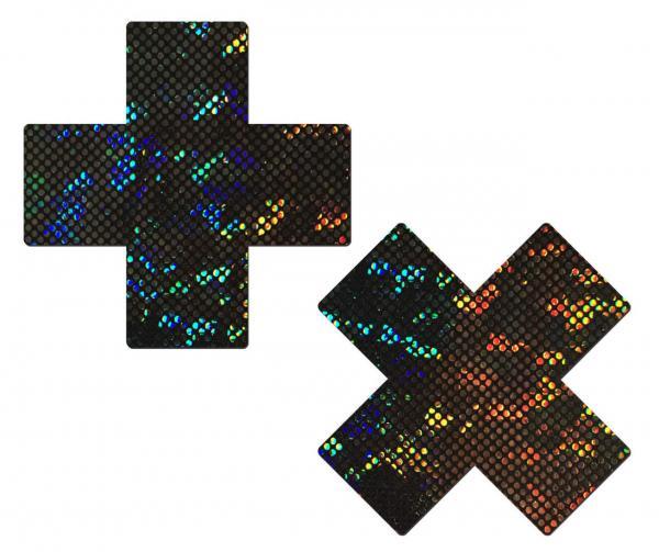 Pastease Shattered Glass Disco Ball Glitter Black Cross Pasties