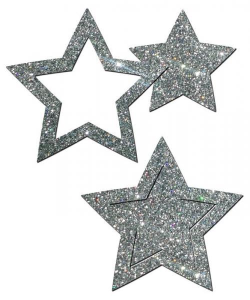 Pastease Glitter Peek A Boob Stars Silver Pasties