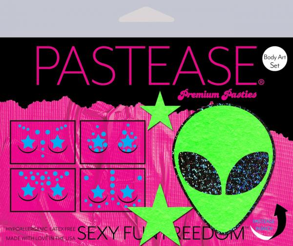 Pastease Set Neon Alien Glow In The Dark Stars Pasties