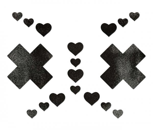 Liquid Black Plus X Cross With 6 Mini Hearts & 10 Baby Hearts