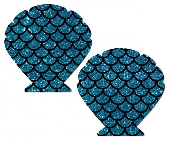 Mermaid Glitter Turquoise Blue Pasties O/S
