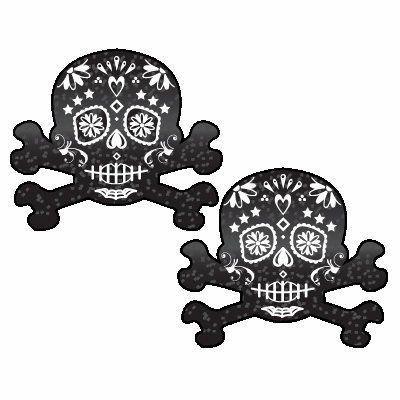 Skull Crossbones Black Glitter Pasties