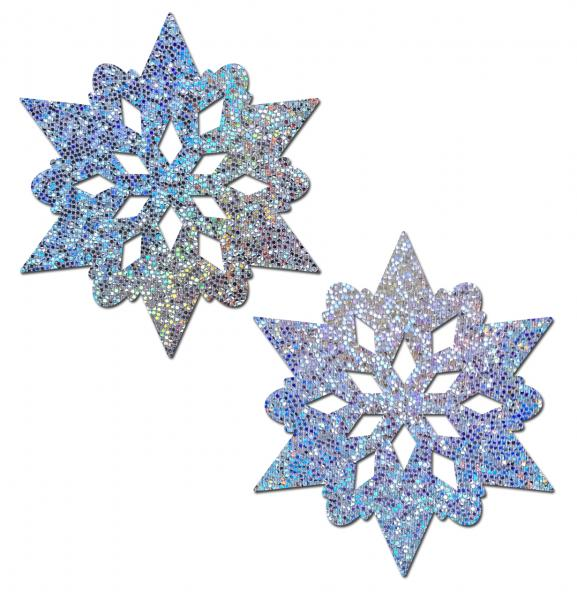 Silver Glitter Snowflakes Nipple Pasties O/S