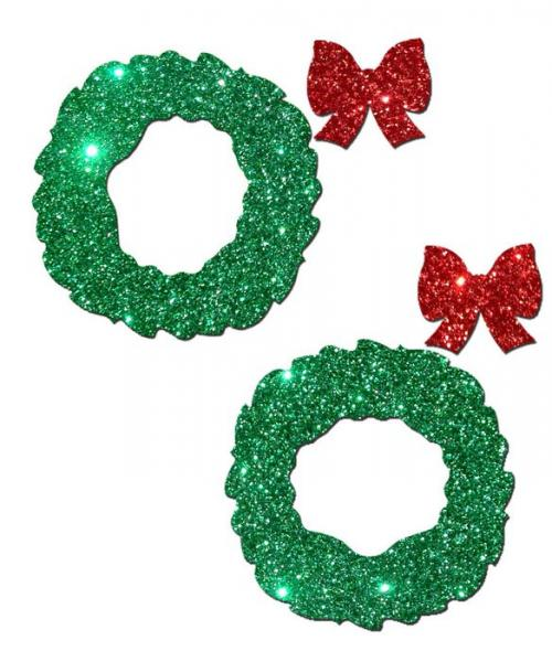 Pastease Peek A Boob Green Glitter Wreath with Red Glitter Bow