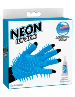 Neon Luv Glove Soft Smooth Ticklers O/S Blue
