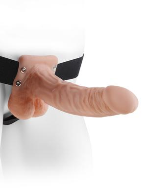 Fetish Fantasy 7 inches Hollow Strap On Balls Beige