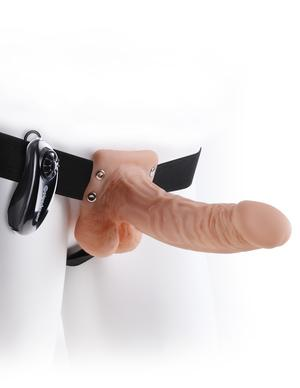Fetish Fantasy 7 inches Vibrating Hollow Strap On Balls Beige