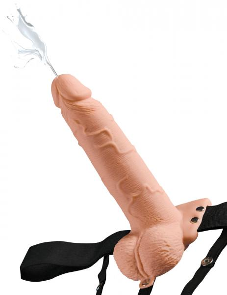 Fetish Fantasy 7.5 inches Hollow Squirting Strap On with Balls Beige