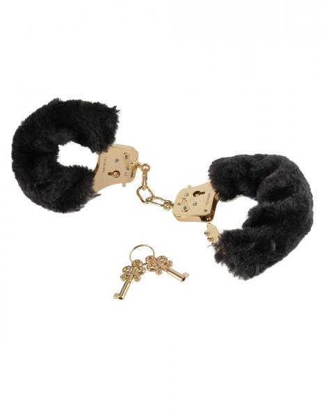 Deluxe Furry Cuffs Black Handcuffs