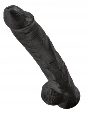 King Cock 14 inches Cock with Balls Black Dildo