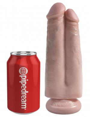King Cock 7 inches Two Cocks One Hole Beige Dildo