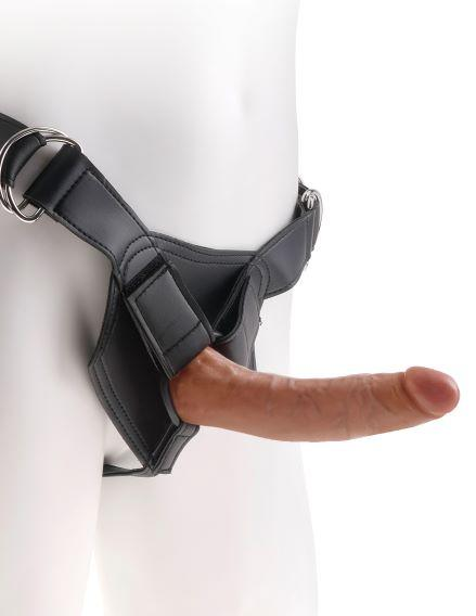 King Cock Strap On Harness with 7 inches Cock Tan