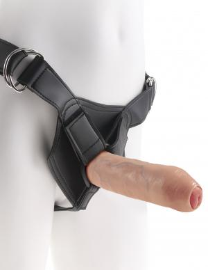 King Cock 7 inches Uncut Dildo with Strap On Harness Beige