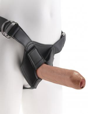 King Cock 7 inches Uncut Dildo with Strap On Harness Tan