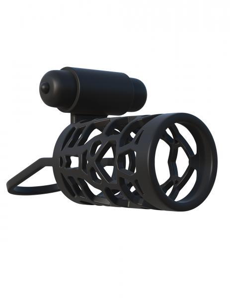 Fantasy C-Ringz Thick Dick Vibrating Cage Black