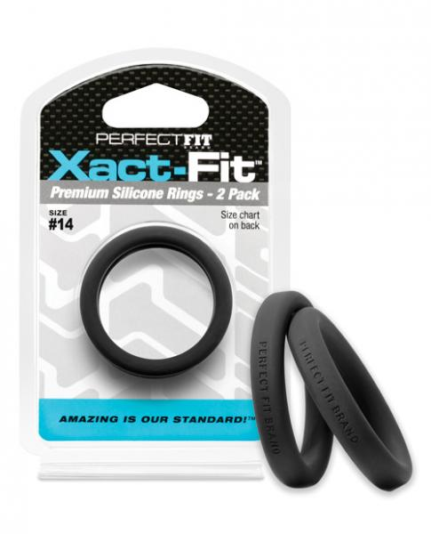 Perfect Fit Xact-Fit #14 2 Pack Black Cock Rings