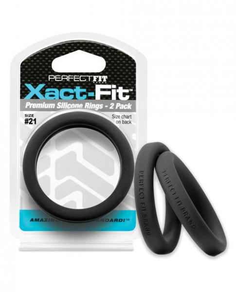 Perfect Fit Xact-Fit #21 2 Pack Black Cock Rings