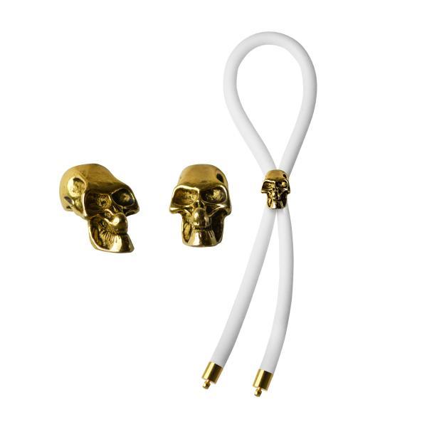 Bolo C-Ring Lasso Gold Skull Bead Silicone White