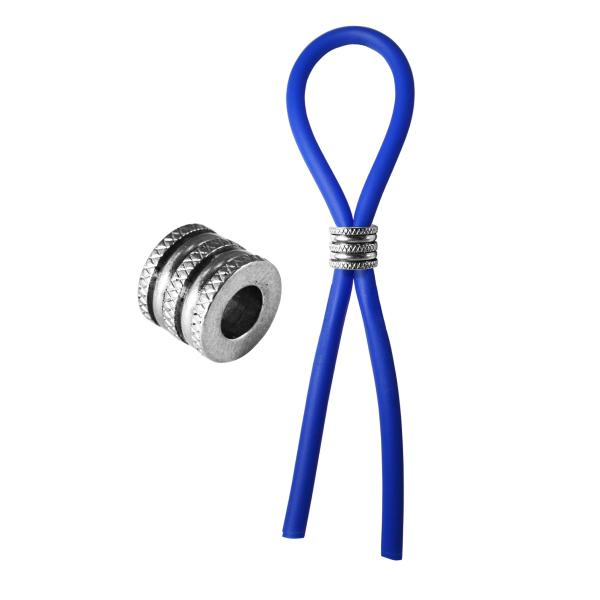 Bolo Silicone Lasso & Grooved Stainless Steel Slider Blue