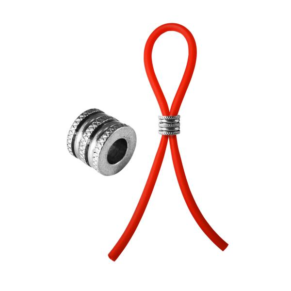 Bolo Silicone Lasso & Grooved Slider Ring Red