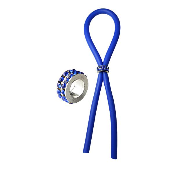 Bolo Lasso Silicone Ring Blue Gems Bead Slider