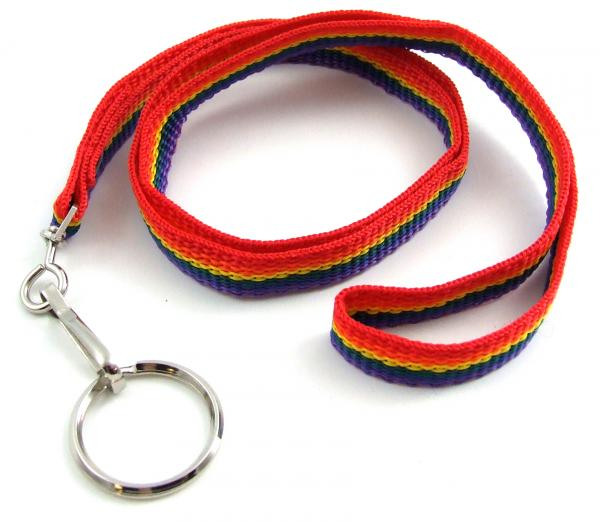 Gaysentials Rainbow Nylon Lanyard with Key Ring