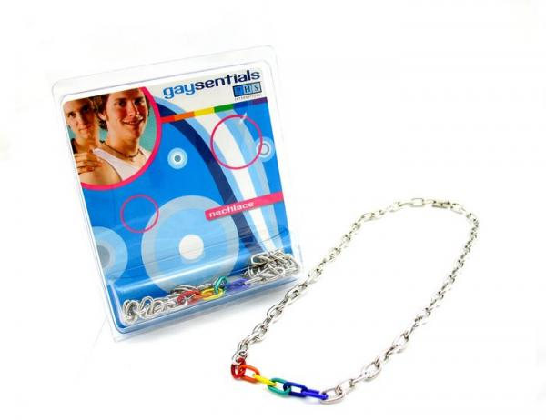 Gaysentials Rainbow and Silver Links Necklace 20 inches