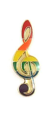 Gaysentials Lapel Pin Rainbow Musical Note
